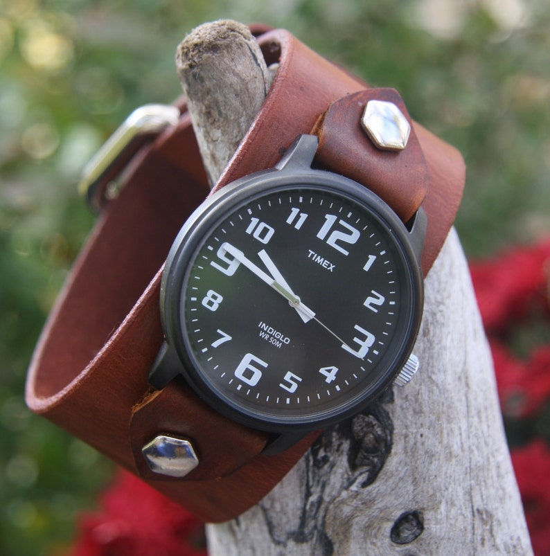 a6ad31151 Timex-Leather Watch-Men's Watch-Fossil-Leather Cuff-Big   Etsy