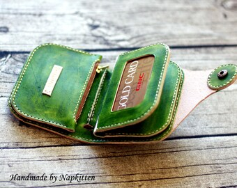 Leather Wallet,Men Womens Leather Wallet,bifold Wallet,Hand-dyed,Hand stitched by Napkitten,vegetable tanned leather wallet roomy wallet