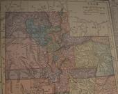 Map 1919 State Map Utah - Vintage Antique Map Great for Framing Map Utah