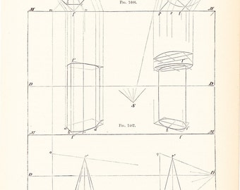 Technical drawing etsy 1892 technical drawing antique math geometric mechanical drafting interior design blueprint art illustration framing 100 years old malvernweather Choice Image