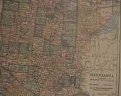 Map 1919 State Map Minnesota - Vintage Antique Map Great for Framing Map Minnesota