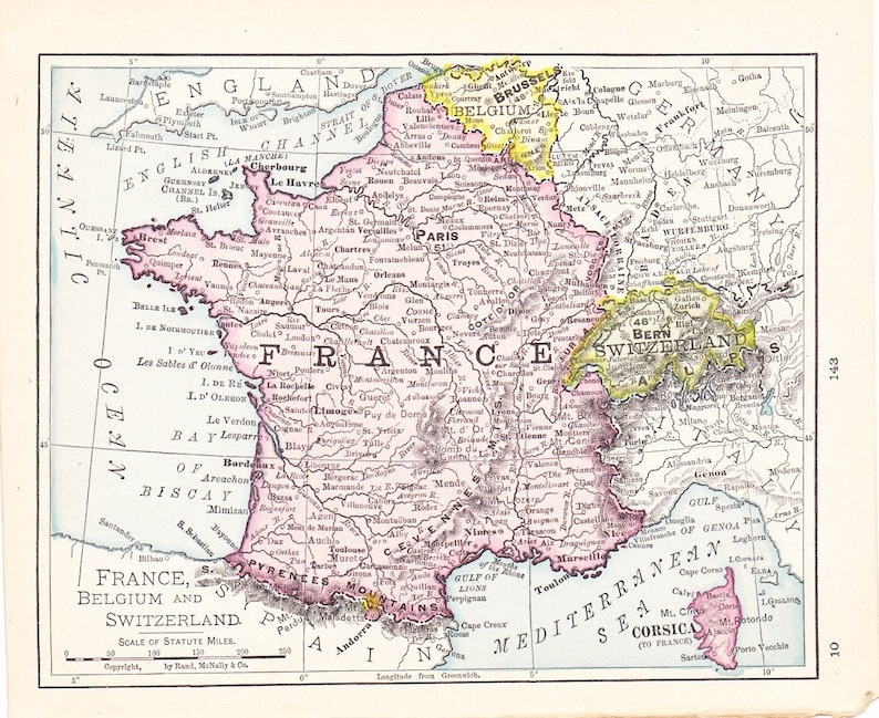 Map Of France Switzerland.Map 1908 Map France Belgium And Switzerland Vintage Antique Map Great For Framing Map