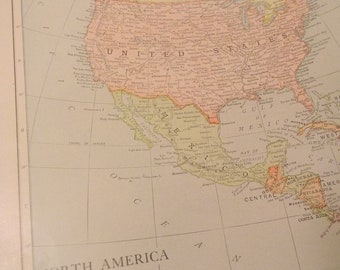 1913 Map North America - Vintage Antique Map Great for Framing 100 Years Old
