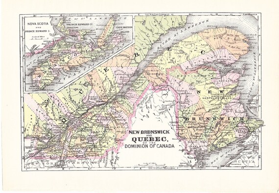 CLEARANCE SALE 1903 Map New Brunswick Quebec Nova Scotia | Etsy