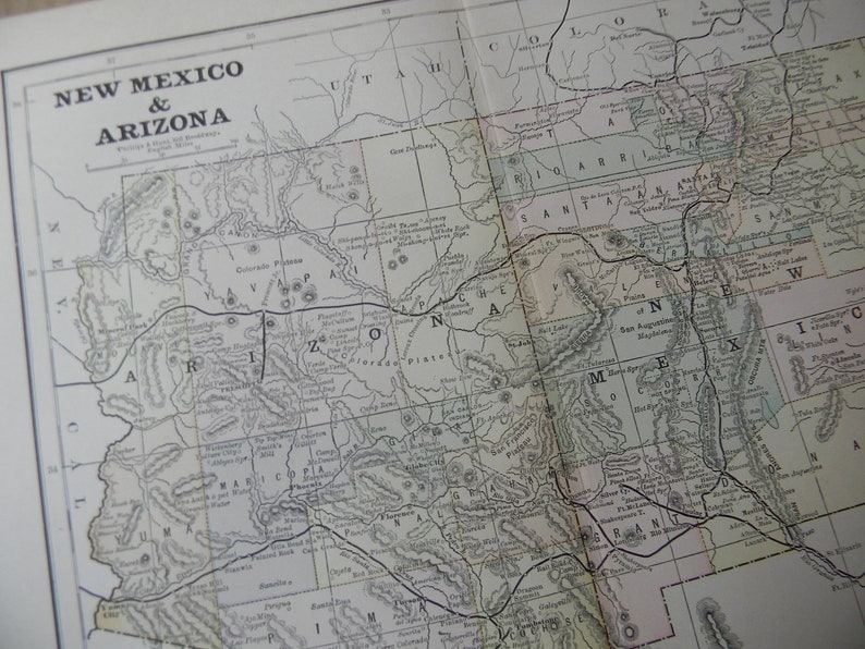 Map Of Arizona And New Mexico.Map 1887 Territory Map Arizona And New Mexico Vintage Etsy