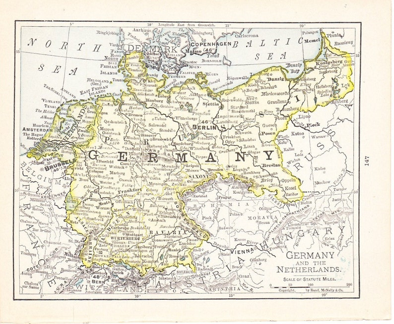 Map Of Germany And The Netherlands.Map 1908 Map Germany And The Netherlands Vintage Antique Map Great For Framing 100 Years Old Map