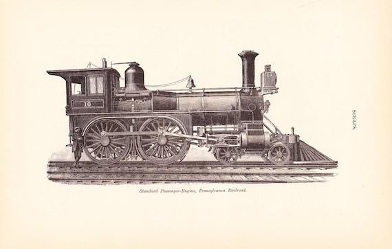 1885 Technical Drawing - Train Locomotive - Antique Math Geometric  Mechanical Interior Design Art Illustration Framing 100 Years Old