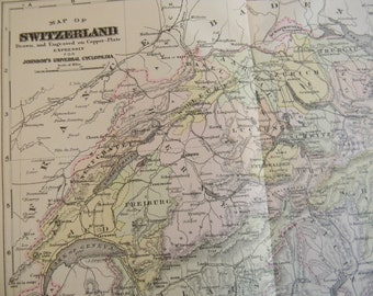 SALE 1897 Map Switzerland - Vintage Antique Map Great for Framing 100 Years Old