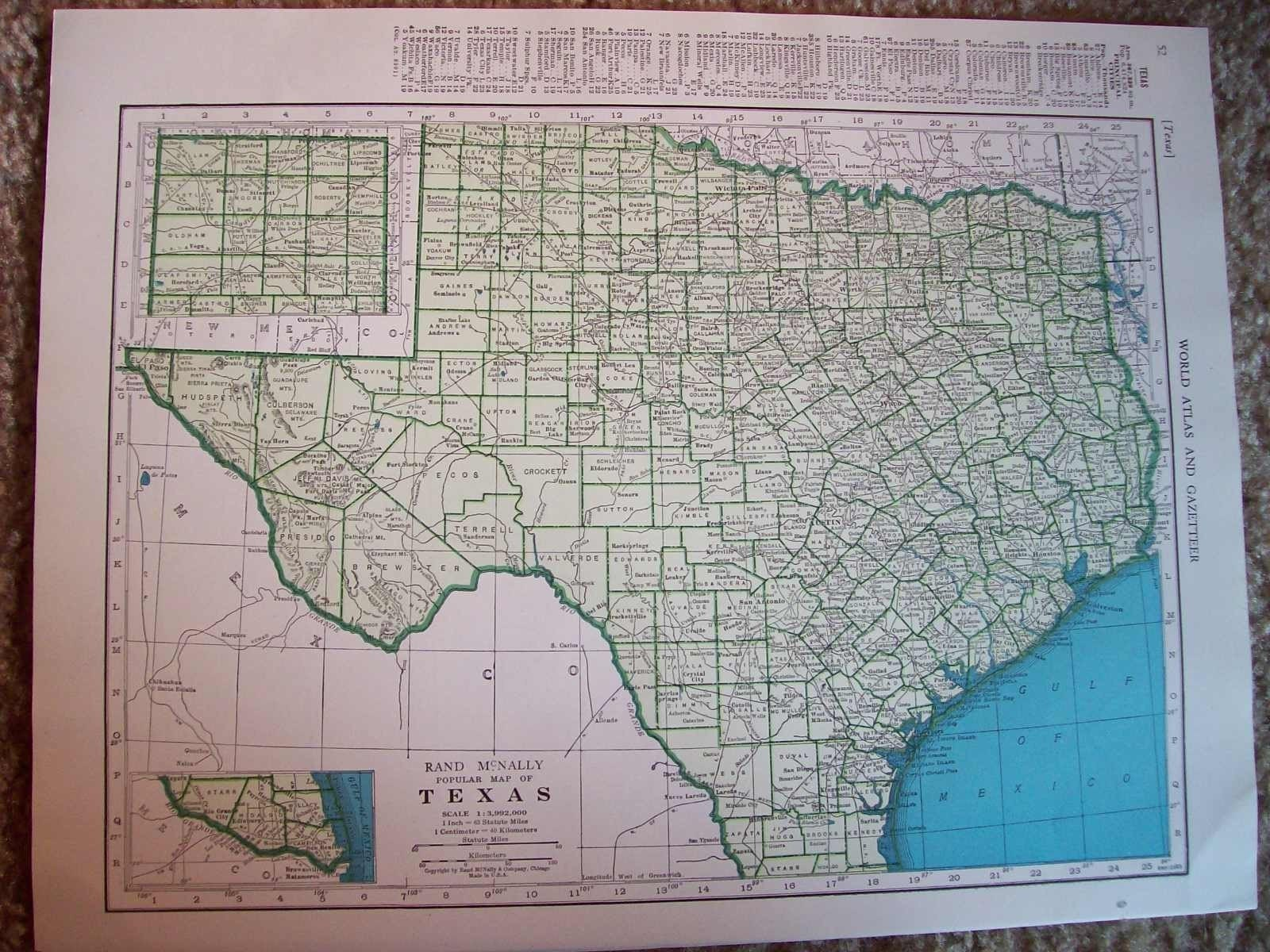 Victoria 2 States Map.Map 1944 State Map Texas Vintage Antique Map Great For Etsy