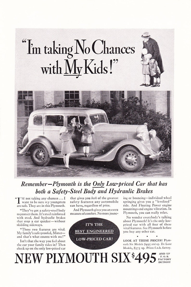 1934 Plymouth Automobile Advertisement - Vintage Antique 30s Era Art Ad for  Framing
