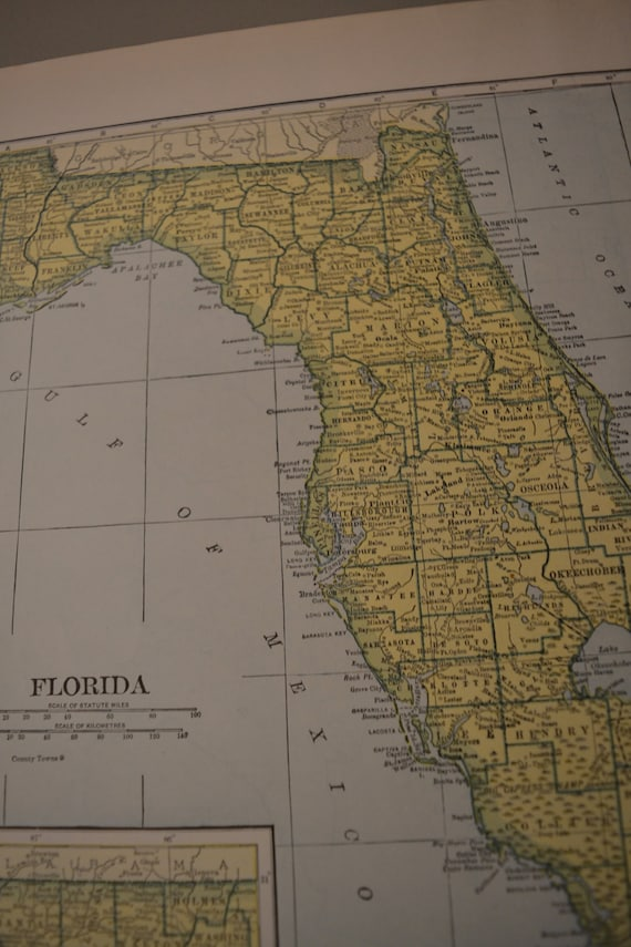 Map 1943 State Map Florida Vintage Antique Map Great For Etsy