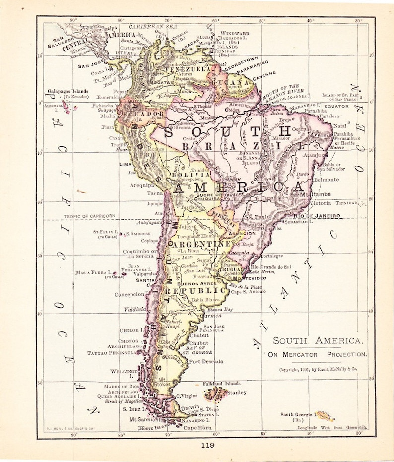 Map Of America 1900.Map 1900 Map South America Vintage Antique Map Great For Etsy