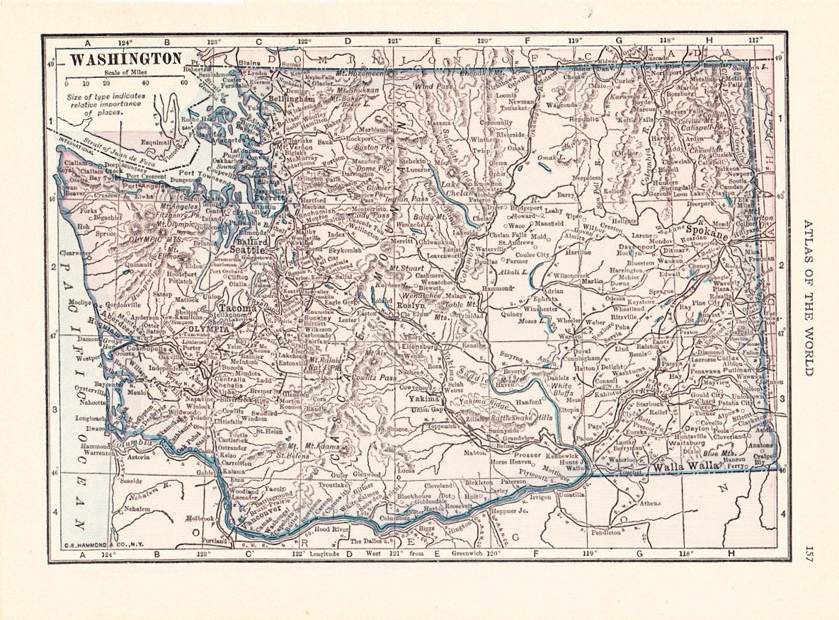 Map 1926 Map Washington State Vintage Antique Map Great for | Etsy