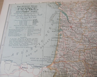 SALE 1897 Map Southern France - Vintage Antique Map Great for Framing 100 Years Old