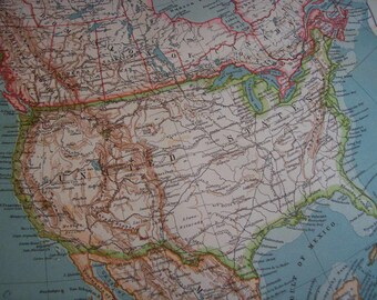 SALE 1911 Map North America - Vintage Antique Map Great for Framing 100 Years Old