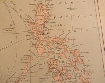 1903 Map Philippine Islands - Vintage Antique Map Great for Framing 100 Years Old