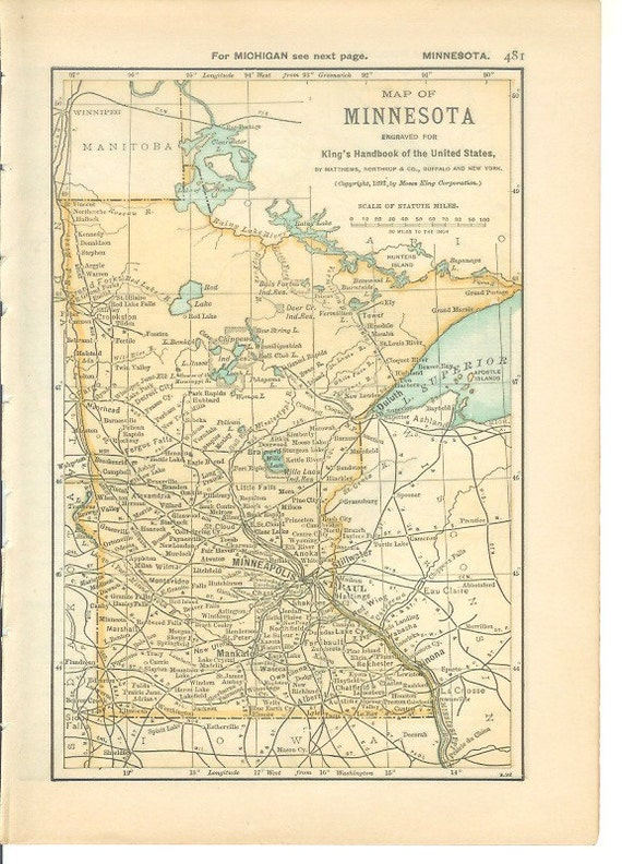 Map 1891 State Map Minnesota - Vintage Antique Map Great for Framing 100  Years Old Map Minnesota