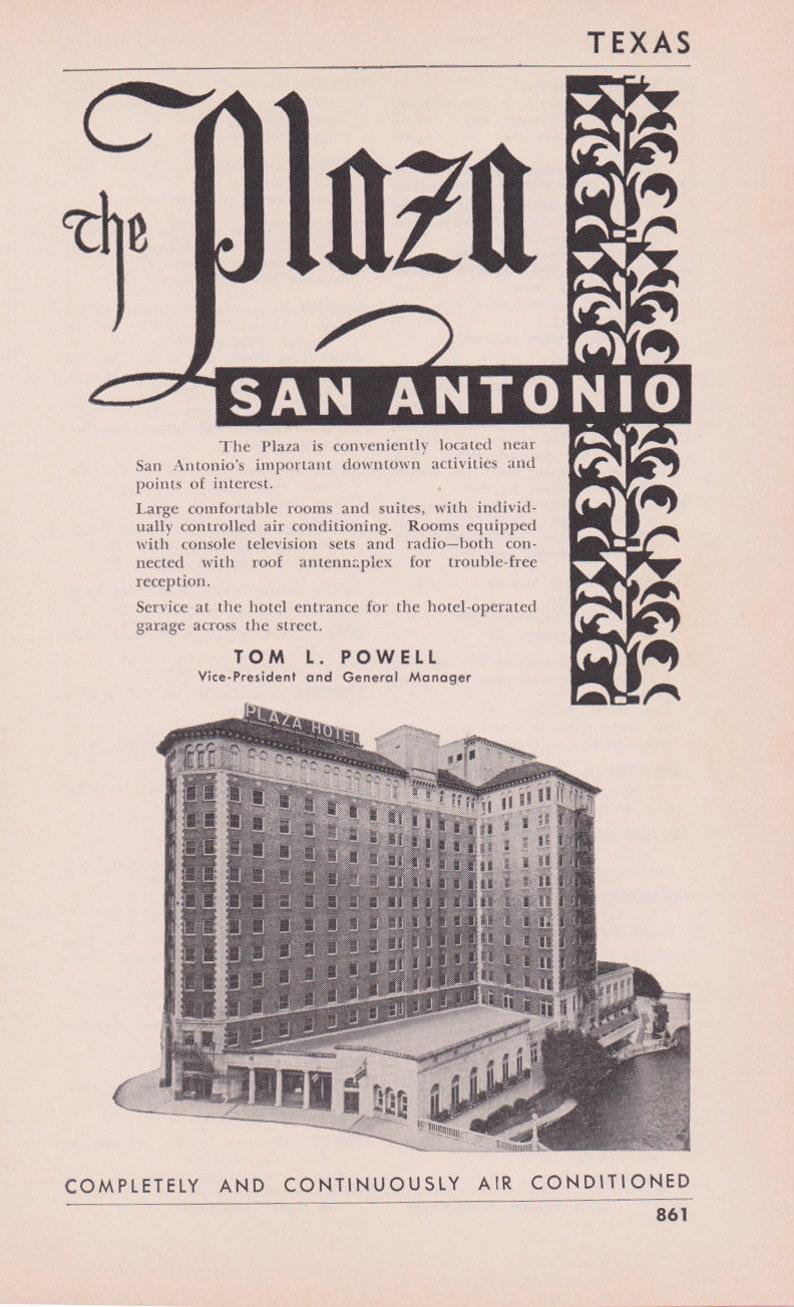 1950s Hotel Advertisement - The Plaza San Antonio Texas - Vintage Antique  Retro 50s Era Pop Art Ad for Framing 50 Years Old Texas
