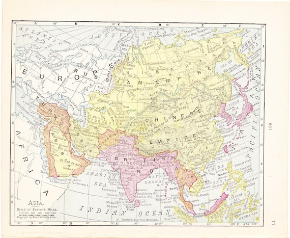 Map 1900 Map Asia Vintage Antique Map Great For Framing 100 Etsy