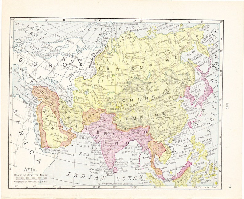 Map Of Asia 1900.Map 1900 Map Asia Vintage Antique Map Great For Framing 100 Years Old Map