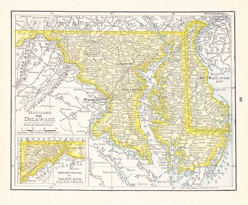 Map 1908 State Map Maryland and Delaware - Vintage Antique Map Great for  Framing 100 Years Old Map Delaware Maryland Washington