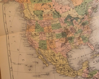 1903 Map North America - Vintage Antique Map Great for Framing 100 Years Old