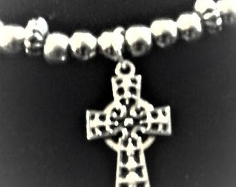 silver bead with cross necklace