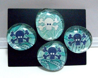 Blue Skull and Crossbone Glass Marble Magnets