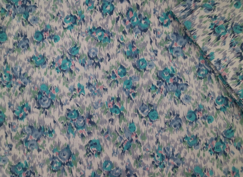 painterly floral in blues...ladies loose fit blouse in vintage cotton