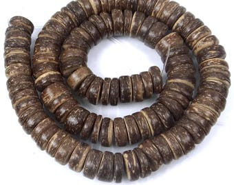 10mm Natural Coconut Heishi Rondelle Beads Full strand (e7464)