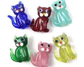 6 Lampwork Handmade Glass Colorful Cat Beads  (L949)