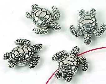 4 Antique Silver Pewter Turtle Beads 18x16mm  (p090)