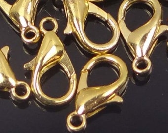 27x14mm Antique Gold Pewter Heart Lobster Claw Clasps 5