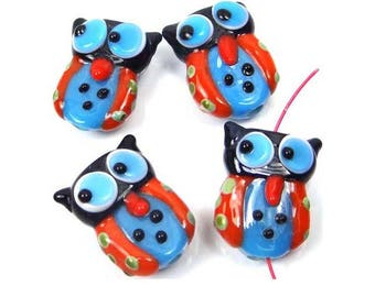 4 Lampwork Handmade Glass Lovely Owl Beads (L1149)