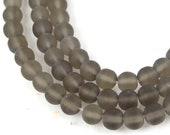 6mm Smoky Crystal Bronze 50 Czech Frosted Sea Glass Round Beads - Matte (C217)