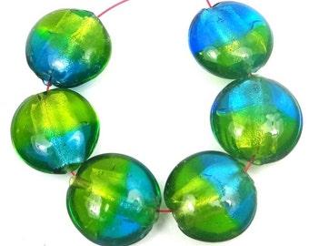 6 Lampwork Handmade Glass Beads Silver Foil Sea Green Blue Lentil (L1180)