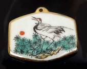 Hand Painted Pottery Shard Porcelain Pendant - Crane 35x42mm (e7089-01)