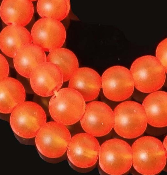 Hyacinth 25 Frosted Sea Glass Round Beads 8mm Matte orange