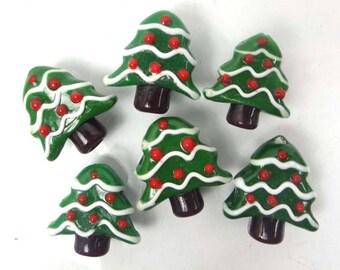 6 Lampwork Handmade Glass Christmas Tree Beads 20mm (L095)