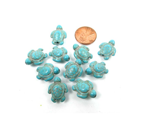 18x14mm Antique off White Turquoise Turtle Tortoise Beads 12