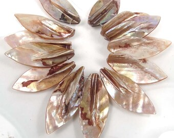 38-42mm Natural Lustrous Rainbow Mother of Pearl Leaf Pendant Beads  (e7595)