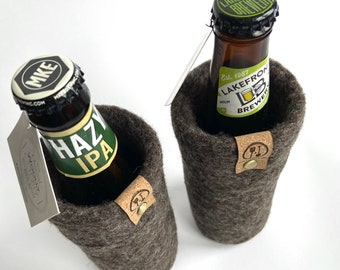 Beer Gift, Gifts for Him, Natural Wool Beer Sleeve Men's Socking Stuffer, Guy Gift, Wool Bottle Beer Sweater, Eco Friendly Stocking Stuffers
