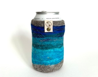 Wool Gift, Great Lakes Guy Gift, Gifts for Him, Wool Anniversary Gifts for Men, Wool Present, Craft Beer Sleeve, Insulated Felt Beer Sweater