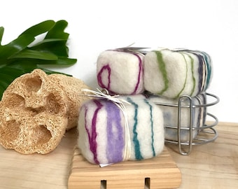 Lavender Peppermint Soap Essential Oil Felted Soap, Natural Plastic Free Lavender Skincare Zero Waste Care Package Gift, Peace of Mind