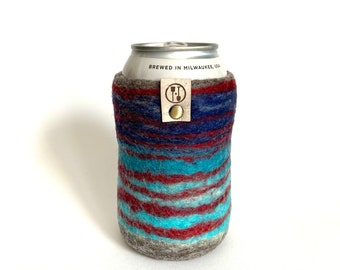 Ruby Waves Guy Gift, Gifts for Him Wool Anniversary Gifts for Men, Phishphan Present Wool Craft Beer Sleeve, Insulated Felt Beer Sweater