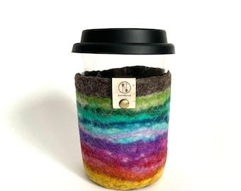 Super Rainbow Woolly Travel Mug, Tumbler with Lid, Rainbow Coffee Mug, Felt Cup, Tempered Glass Tea Cup, Felted Wool Travel Cup Drink Sleeve