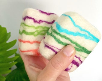 Variety 2pk Felted Soap Set of Two | All Natural Gift Set Exfoliate Essential Oil Soaps You pick Set of 2, Zero Waste Gifts for Care Package