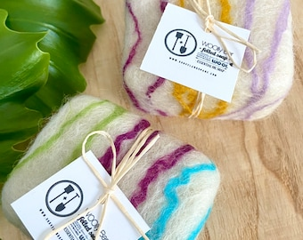 Gifts for Mom 2pk Floral Gift Set of 2 Exfoliating Floral Woolly Bar Wool Soaps, Essential Oils Care Package Gift, Zero Waste Plastic Free