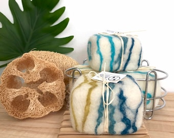 Lake-Effect Cypress Vetiver Essential Oil Woody Felted Soap, All Natural Felted Organic Soap Relaxation Care Package Gift Zero Waste Package