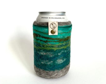 Cascade Forest Guy Gift, Gifts for Him, Wool Anniversary Gifts for Him, Wool Present, Craft Beer Sleeve Gift, Insulated Felt Beer Sweater